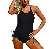 YXINY Bademode Badeanzüge Damen Badeanzug, Badeanzug, Verschluss: Schnürung, seitlich verstellbar, Baden Mädchen Bikinis (Farbe : Schwarz, größe : XXL)