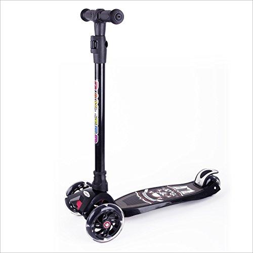 BAYTTER Kinderscooter Dreirad Kinderroller Roller Scooter LED Blinken für Kinder ab 3 Jahren, in 4 Höhen verstellbar und bis 100kg...