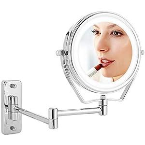 Athomestore Kosmetikspiegel LED Beleuchtung und 1x/7xFach- Vergrößerung, Schminkspiegel mit Licht für wandmontage, 360…