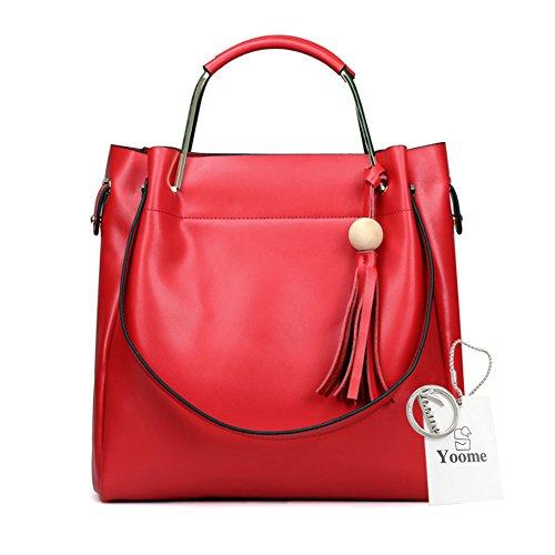 Sacchetti di cuoio genuini di Yoome per le borse della nappa delle donne Rosso