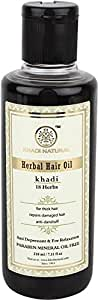 Khadi Natural Ayurvedic 18 Herbs Hair Oil Without Mineral Oil, 210ml