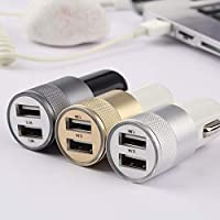 Strong Compatible DC12-24V 2.1A 1.0A Aluminium Dual USB-Port USB Universal Car Charger Adapter Suitable for iphone6/6s/5