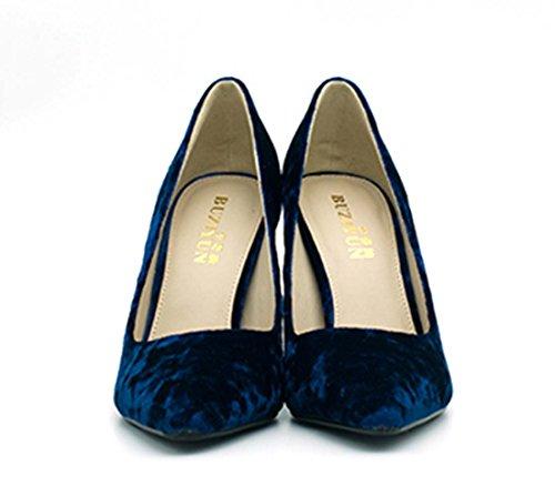 Scarpe Da Donna Primavera Estate Nuove Scarpe Di Velluto Coreano Scarpe A Punta Tacco Alto A Punta Tacco Alto Blue