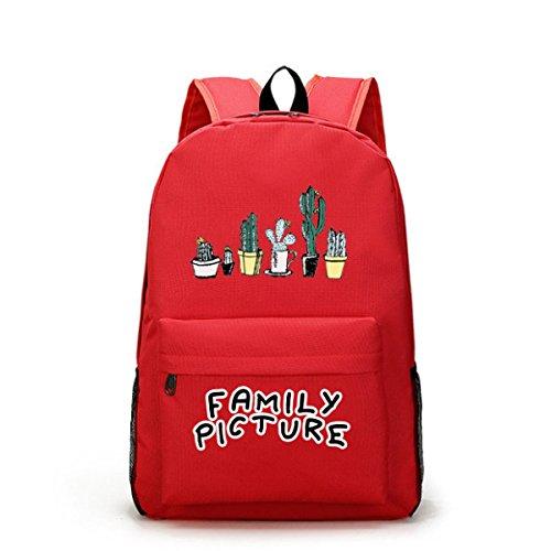 FZHLY Versione Coreana Dello Zaino Grande Capacità Solido Colore Di Stampa Borse,Gray Red
