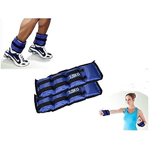 Pack de 2 pesos desde 1,5 KG hasta 4 KG para los tobillos y muñecas – Producto Fitness / Entrenamiento y adelgazamiento gimnasio en casa - mws1951 (1,5