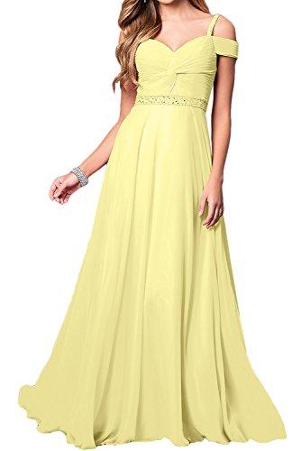 Ivydressing Damen Elegant Chiffon Lang Abendkleider A-Linie Festkleid Ballkleid Partykleider Gelb