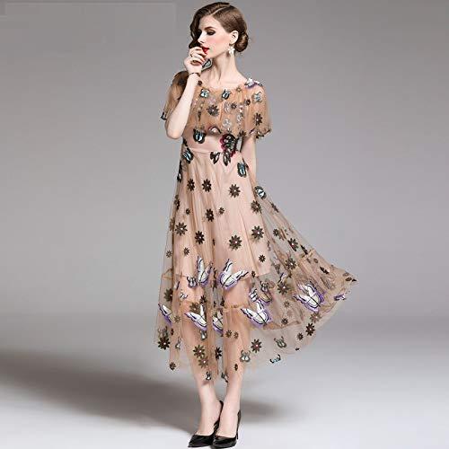 QUNLIANYI Maxikleid Spitze Frauen Floral Schmetterling Stickerei Langes Kleid Schiere Mesh Vintage A-Linie See-Through Mantel Ärmel S - Lange Ärmel Schiere Mantel