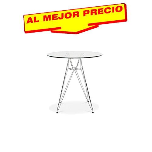 MESA DE COCINA MESA DE SALÓN DISEÑO MULTIUSOS MESA INSPIRADA EN TOWER WOOD DE CRISTAL 90CM DE DIAMETRO - OFERTAS HOGAR -¡AL MEJOR