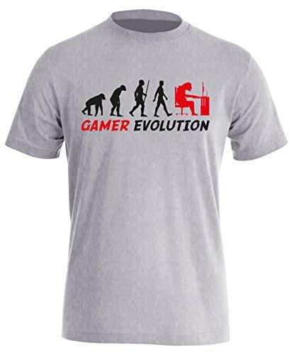 Gamer Evolution - Evolution Computer, Playstation XBox Spieler - Perfektes Geschenk für jeden Zocker - Herren Rundhals T-Shirt Grau/Schwarz-rot