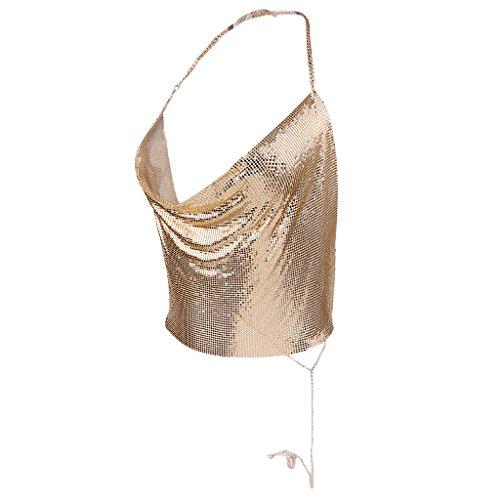 Kette Hals Halfter (Gazechimp Tiefem V Halter Top Metall Pailletten Crop Top für Frauen - Gold, one size)