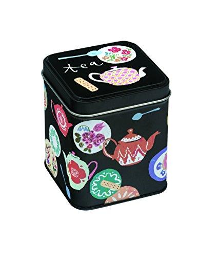 Boîte à thé – Petit Carrée Motif théières – Temps pour 100 g thé – 9 cm
