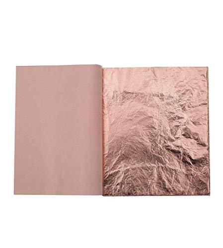 Kinxor 100 Blatt Blatt-Imitat für Kunst, Vergoldung Handwerk, Möbeldekoration, 14 x 14 cm (Rotgold) (Blatt Kupfer)