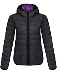 Lonlier Chaqueta Pluma Mujer Reversible con Capucha Packable Down Jacket Ligero