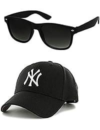 Imperior UV Sun Protection Combo of Cap and Wayfarer Men's Sunglasses (Black)