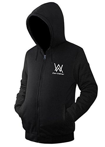 BOODUN Herren Kapuzen Sweatshirt Front-Zip Fleece Hoodie mit Kängurutasche Schwarz XL Front-zip-hoodie