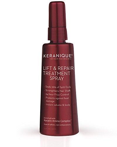 Keranique Levante y repare el spray de tratamiento, 3.4 fl oz - complejo de queratina amino, libre de sulfatos, colorantes y parabenos - aumente la fuerza y la elasticidad del cabello - mejore el c