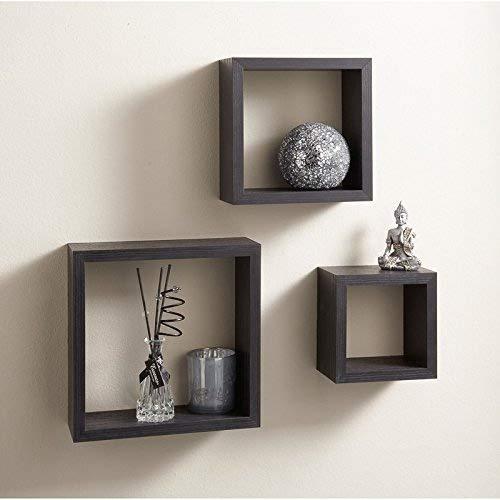 3 Cube Flottant étagères Noir