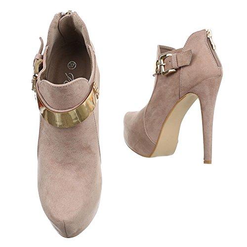 Damen Schuhe High Heels Chelsea Boots Reißverschluss Ankle Boots Stiefeletten Pfennig-/Stilettoabsatz Beige