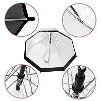 Tdmzon Plastic Transparent Rain Sunny Women Long Handle Dome See Through Umbrellas WR Sunny
