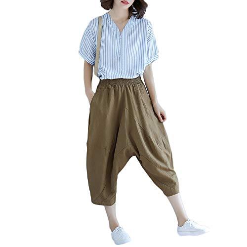 Dorical Damen Hose, Beiläufig Solide Baumwolle Leinen Breit Bein Elastische Taille Lose Passen Knöchellänge Hose für Frauen Große Förderung(EU 40/CN ()