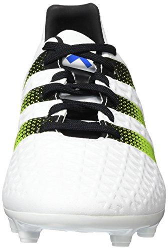 adidas Ace Fg/Ag Terrain Souple, Football Homme Blanc (Ftwr White/Semi Solar Slime/Shock Blue S16)