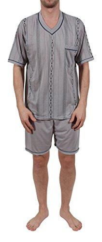 Herren Pyjama kurz, Schlafanzug, Nachthemd, Shorty Gr. M - XXXL Grau