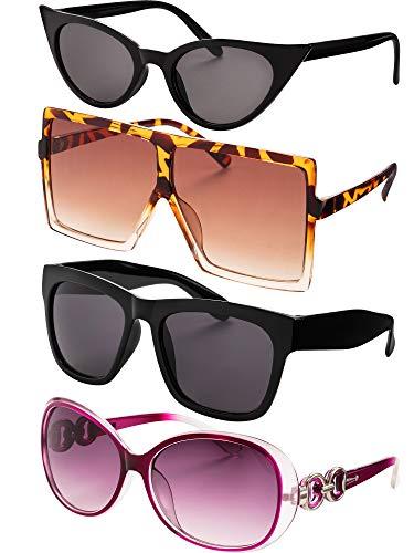 Frienda 4 Paar Mode Designer Sonnenbrillen Platz Übergroße Sonnenbrille Übergroße Schwarze Schildkröte Sonnenbrille für Damen Kühl Modisch Süß Stil (Farbe B)