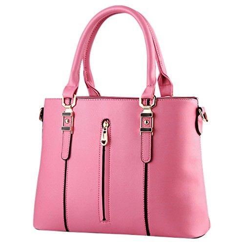 MissFox Borsa A Spalla Donna Borse A Mano Borsa Messenger Donna Cerniera Design Pink