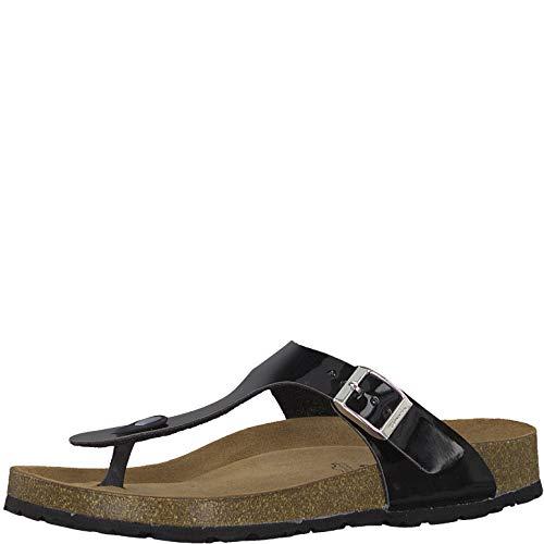 Tamaris 1-1-27531-22 Damen FlipflopsLeder,Sandale,hochwertig,bequem,leicht,Sommer,Strand Schuhe,Black PATENT,39 EU Patent Schuhe