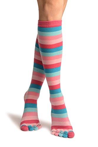 Pink & Blue Stripes & Printed Smiles Knee High Toe Socks - Mehrfarbig Zehensocken Einheitsgroesse (37-42) (High Knee Socken Stripe)