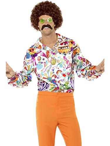 Fancy Ole - Herren Männer Männer 60er Jahre Groovy Hippie Kostüm mit Buntem Hemd, perfekt für Karneval, Fasching und Fastnacht, XL, Weiß