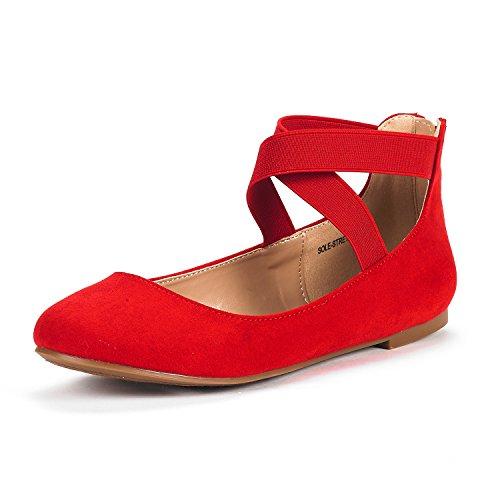 DREAM PAIRS Sole-Stretchy Damen Ballerinas Rot 40.5 EU/9.5 US - Rote Ballettschuhe