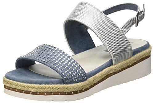 XTI 48793 Sandali Punta Aperta Donna, Blu Jeans, 39 EU