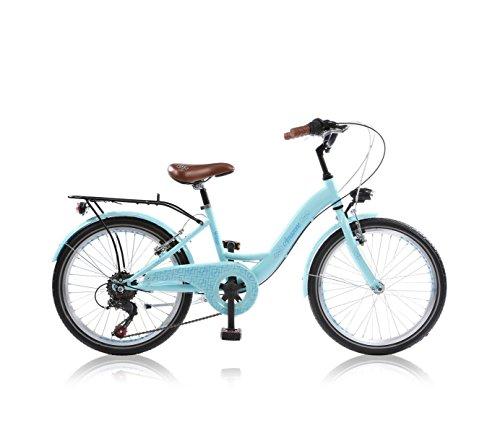 26 Zoll Cityrad Cityfahrrad Mädchenfahrrad Kinderfahrrad Citybike City Fahrrad 6 Gang Shimano STVO AMAZONE BLAU WEISS