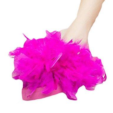 zhENfu donna pantofole & amp; flip-flops estate pu outdoor casual tacco piatto Feather Bianco Giallo fucsia arrossendo rosa Fuchsia
