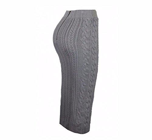 YALL Meine Damen Knielange Kleider, Reißverschluss-Taschen, Hüften, Bleistift, Kleider, Grau, Xl