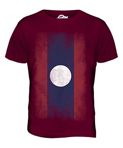 CandyMix Laos Verblichen Flagge Herren T Shirt Burgunderrot