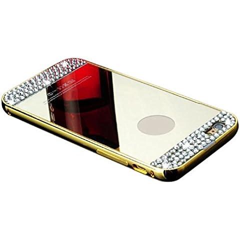 Malloom® Donna Specchio Diamante Lusso Bling Indietro Strass Custodie Cover per iPhone 6S Plus 5.5 inch (oro)