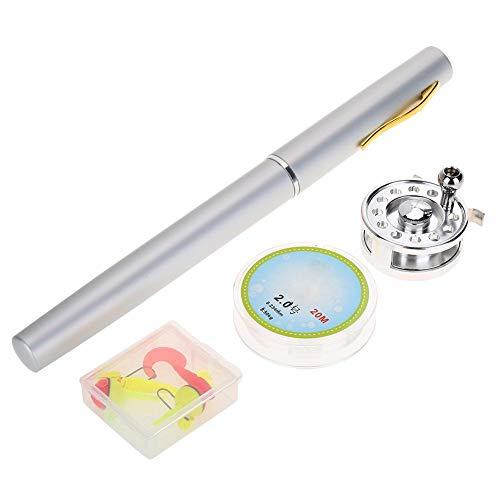 Mini Stift Angelrute Tragbare Aluminium Teleskop Angelrute mit Angelrolle und Angelschnur(Silber)