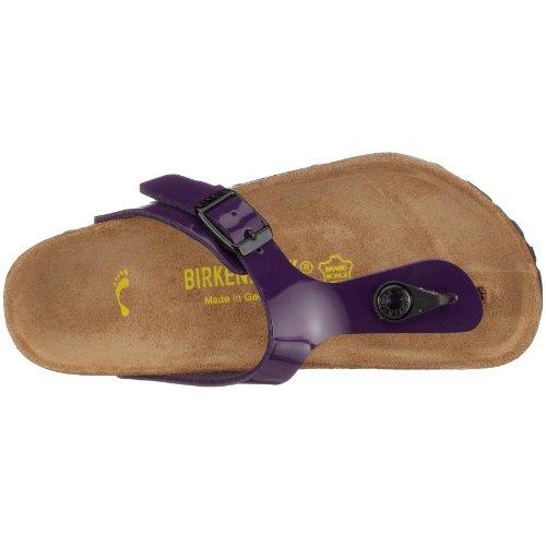 Birkenstock Gizeh, Unisex - Kinder Sandalen/Zehentrenner aus Birko-Flor Lack Pflaume