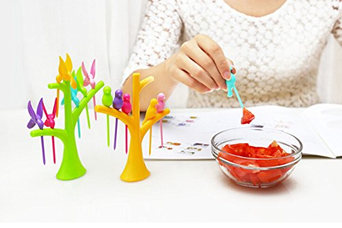 Birdie Plastic Fruit Fork Set, 6-Pieces with stand, Multicolour  available at amazon for Rs.149