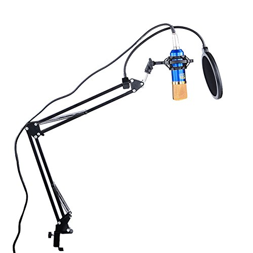 Epower Studio Professional Studio Rundfunk Aufnahme Kondensator Mikrofon verstellbar Aufnahme Mikrofon Federung Scissor Arm Ständer mit Shock Mount und Montage Klemme Kit
