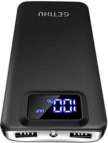 GETIHU Powerbank mit LED Display 10000 mAh, Externer Akku mit 2 USB Ausgängen Quick Charge Taschenlampe Leicht Tragbar Ladegerät für iPhone iPad Samsung Huawei Xiaomi und andere Smartphone