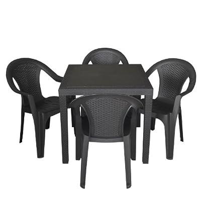 5tlg. Sitzgarnitur Balkonmöbel Set Sitzgruppe Gartengarnitur 79x79cm Rattan-Optik Vollkunststoff Balkonmöbel Terrassenmöbel Stapelstuhl Schwarz