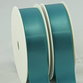 Teal Blue Satin Ribbon. Double faced teal satin ribbon 15mm wide by 25m long. FULL ROLL