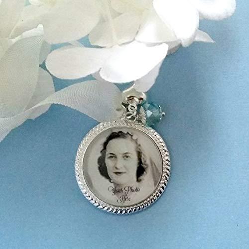 qws Bouquet Foto-Charm-Anhänger Erinnerungsstück, personalisierbar, Geschenk für Braut, Hochzeit, Andenken, Geschenk, Halskette