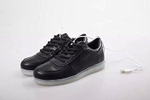 (Présents:petite serviette)JUNGLEST LED chaussure clignotante avec 7 couleurs led USB rechargeable basket lumineuse chaussure de sport en couleur noir Noir