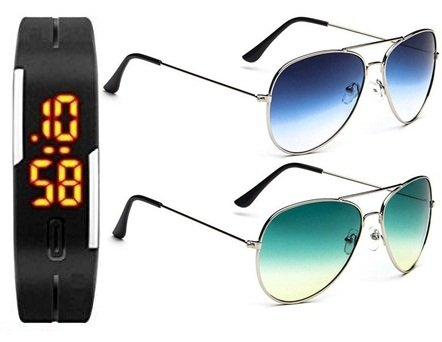 SUNGLASSES BEST GIFT SETS COMBO OF 2 Silver Metal Frame Blue Gradient Glass AVIATOR SUN GLASSES AND Silver Metal Frame Green Lavish Gradient GOGGLES (GOGALS) WITH TPU BAND RED LED  available at amazon for Rs.396