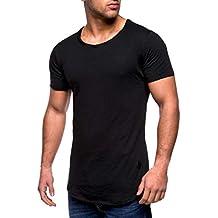 ♚Camisas Hombre Algodón Musculoso,Camiseta sin Mangas con Cuello en Pico de Manga Larga