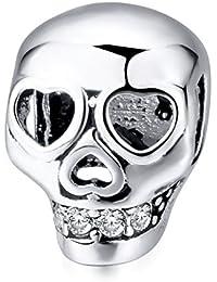 Kustom Factory - Charm en forma de calavera con corazón para pulsera Pandora